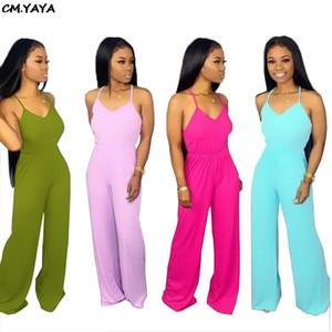 2019 новых женщин планки спагетти v-образный вырез без рукавов прямого длинного комбинезон открытой спины моды ползунки GLYS6068 легкого костюм с шортами