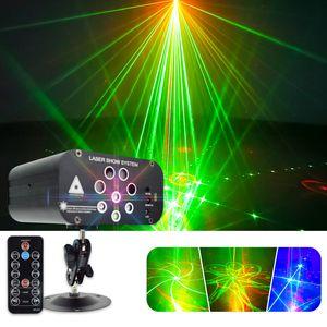 Novas 8 furos 128 Pattern Luzes Disco Light Laser KTV Bar Som DJ Partido Controlo do Projector RGB efeito de iluminação colorida para o casamento