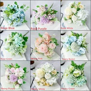 Fotografia rosas simulação mão casamento segurando buquê de casamento adereços nórdico floral casa decoração pano de seda bouquet
