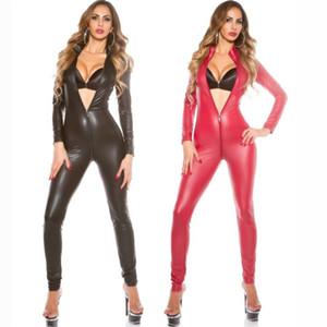 Kadınlar Erotik Motosiklet Jumpsuit Fermuar Sahte Deri Kedi Kadın Bodysuit Black Steampunk Fetiş Giyim Seksi PVC Catsuit Kostümler