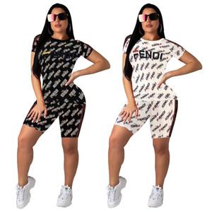 de 2020 Verão New Mulheres Suit Sports Moda Mulheres de manga curta de 2 peças Shorts Esportes de Mulheres do Set Mulheres Fatos Sportswear