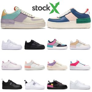 Nike air force 1 Hombre Zapatillas de deporte Shadow Pale Ivory Triple Black White Parches removibles Black Pink Volt Magic Flamingo Women Sport Trainer
