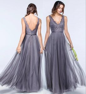 Plus Size Tulle Bridesmaids Dresses for Summer Weddings A Line V Neck Bohemian Pleats Guest Dresses Lace Evening Gowns