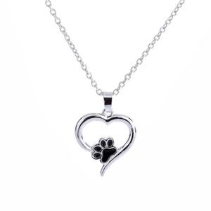 Сердце Ожерелье Милый Животных Ювелирные Изделия Дешевые Собака Любовь Сердце Полые Пэт Лапы След Ожерелья Собака Коготь Кулон Ожерелье