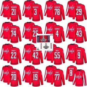 2018 Stanley Cup Finali Şampiyonu Washington Capitals 77 TJ Oshie Nicklas Backstrom 8 Alex Ovechkin Braden Holtby John Carlson Hokeyi Jersey
