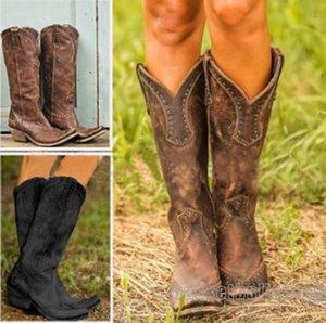 Sıcak Bayan Çizme Retro Perçin Diz Yüksek Boots El yapımı deri Uzun Patik Kadınlar Yüksek Kovboy Çizmesi Moda Günlük Ayakkabılar