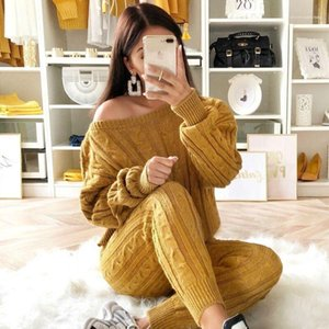 Neck Long Sleeve Spring Ladies Knit Suits Casual Female Two Piece Sets Designer Women Sweaters Sets Crew