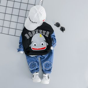 Children Baby Boy Denim Set 1 2 3 4 Years Cute Cartoon shark Print Top and Jeans 2PCS 2019 Fashion Kid Boy Boys Clothes