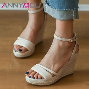 ANNYMOLI Real Leather Sandals Espadrille Platform Extreme High Heels Ankle Strap Wedges Heel Shoes Buckle Female Sandals Beige