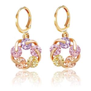 (382E) NOUVEAU 18k d'or chanceux Rotating Boucles d'oreilles Goutte Femmes Multicolor / Clear Europe Style de haute qualité Zircon
