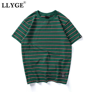 LLYGE Harajuku Unisex Striped Men's T-Shirt Top Summer O-Neck Short Sleeve T-shirts Tops 2020 Men Hip Hop Streetwear Casual Tees
