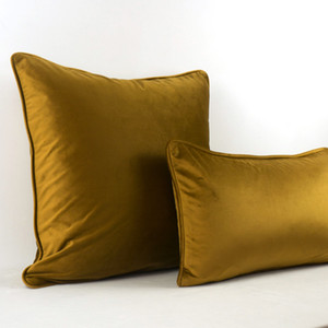 Soft Brown Gold Velvet Cushion Cover Pillow Case Bed Sofa Pillow Cover Piping Design No Balling-up Without Stuffing