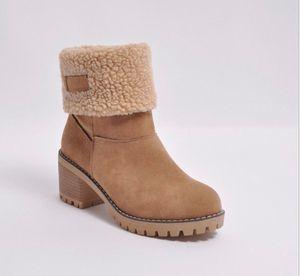 Мода Женщины Мартин сапоги с толстой хлопковой 5 цветов голеностопного ботинка Коренастый пятки Австралии зимние ботинки снега высокого качества US4-12