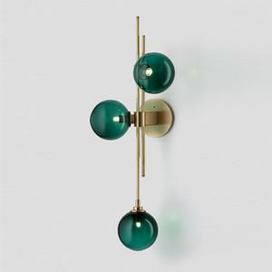 Modern American LED Pendant Lamp Minimalist Living Room Creative Green Clear Glass Wall Lamp Nordic Study Designer Wall Light