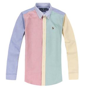 20SS Оксфорд мужские рубашки дизайнер платья мужские дизайнер длинным рукавом поло футболки с вышивкой технологии хлопка моды случайные поло рубашки