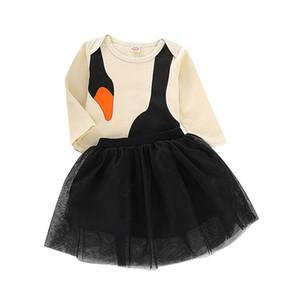 Bebek kızlar swan kıyafetler çocuk romper + dantel Tül etekler 2 adet / takım Bahar Sonbahar moda Butik çocuk Giyim Setleri C5664
