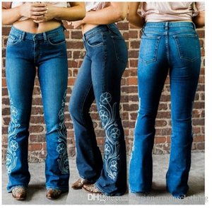 Gewaschene Reißverschluss Jeans Damen lange Hosen-Entwerfer-Frauen-Stickerei-Flare Jeans Sommer Light Blue dünne