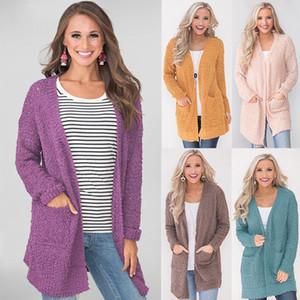 Womens Popcorn Moda Open Cardigan maniche lunghe di colore solido magliata con tasche Top anteriore aperto risvolto collo tunica Lunghezza sottile Outwear