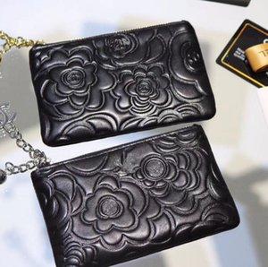 키 체인 달콤한 동백 키 지갑 동전 지갑 브랜드의 새로운 멀티 카드 신용 카드 여성 지퍼 지갑 양모 클러치 가방