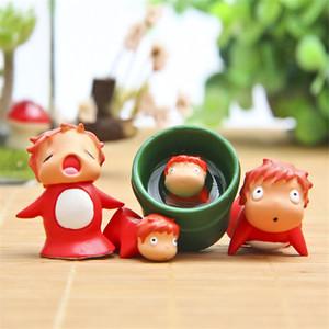 4 Teile / paket Ponyo Action Spielzeugfiguren Spielzeug Anime Mini Modelle Spielzeug Abbildung Für Kinder Miniatur Landschaft Dekoration Geschenke
