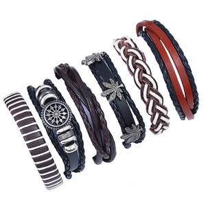 6 in 1 Braided Charm Bracelets for Men Women DIY Fashion Vintage Jewelry Multilayer Genuine Leather Bangle Waist Bands Leaf Male Wristbands