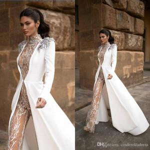 2020 Новый Milla Nova Выпускные платья с комбинезон Long Jacket Роскошные кружева аппликация Открытый Garden Beach Bride Evening Pant Suit платье