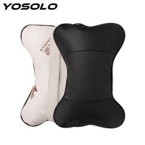YOSOLO 1PIECE العظام شكل سيارة الرقبة وسادة تثقيب تصميم بو الجلود مقعد السيارة غطاء الرأس الرقبة الراحة وسادة مسند رأس وسادة
