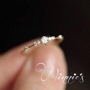 Moda Ouro 14k 7 minúsculos pedaços de diamantes de requintados pequenos frescos senhoras mulheres partido anel de noivado os amantes de jóias na moda e presentes