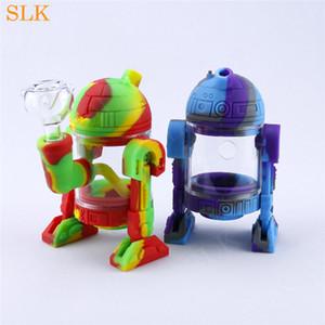 """Cam göbek Bong Robot şekli ekleyin Dab Rig Silikon Su Borusu Sevimli Fumed Askı Boru 5 """"Yükseklik stash 14mm cam kase"""