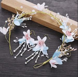Корейский Руководство Fairy Невеста головной убор волос Украсьте волос обручем голову обруч диапазона волос Light Blue Head Flower Marry парадная аксессуары