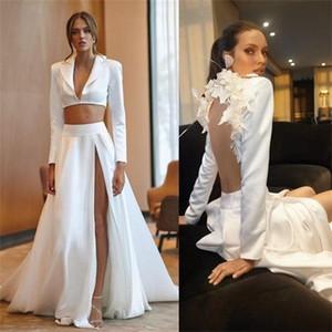 Elihav Sasson 2020 Sexy Свадебные платья V шеи аппликация Длинные рукава высокого Сплит и 2 шт Свадебное платье