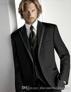 Customize Popular Groom Tuxedos Black Man Prom Dress Party Work Business Suit Formal Suits (Jacket+Pants+Vest+Tie) J219