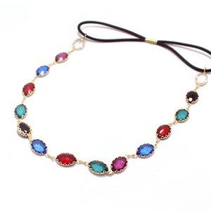 Elegant Hair Band Fashion Boho Head Chain Oval Rhinestone Headpieces Green Crystal Headbands For Women Accessories Jewelry