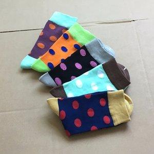 POENFLY Красочные мужчины в горошек хлопчатобумажные носки для экипажа buine long happy ox harajuku deigner pattern забавный большой изре 2шт = 1 пары