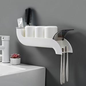 Baffect Plastik Diş Fırçası Tutucu Organizatör Ters Kupa Duvara Monte Banyo Depolama Yaratıcı Banyo Aksesuarları Seti Raf