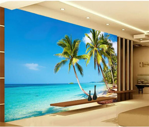 Foto feita sob encomenda 3D Wallpaper Murais luz do sol Sea Water Beach Coqueiro Mural Wallpaper Sala Sofá Fundo Quarto TV
