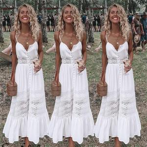2018 Moda Kadın Giyim Yaz Dantel Elbise Kadın Hollow Out Maxi Beyaz Elbise Gevşek Casual Seksi Parti Kadın Giydirme Plus Size