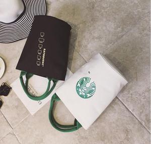 Calidad mayor-mujeres famosas Starbucks linda compras del bolso de las señoras de moda los diseñadores de la marca del bolso del almuerzo envío de mano de alta lienzo
