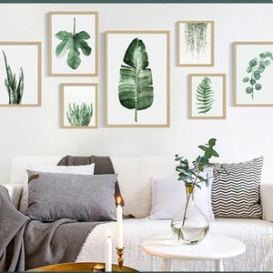 Green Plant Digital Painting Modern Decorated Picture Framed Painting Fashion Art Painted Hotel Sofa Wall Decoration Draw DBC DH1496-1