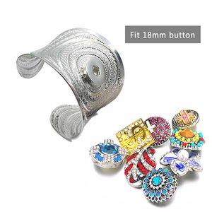 Hot 216 exagerado Arm Flores Cuff Armlet Armband Big pulseira Cuff Jóias 18 milímetros botão Snap Bracelet Jewelry For Women presente