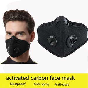 Cycling face mask outdoor cycling masks sports wind and dust anti-haze maske activated carbon filter can be replaced reusable black facemask