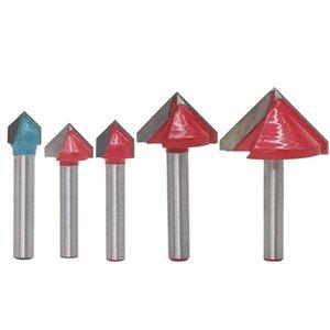 Freeshipping 6Mm V Bit Cnc solide Carbide End Mill Tungsten acier bois Fraise MDF Router 3D Bit 60 90 120 150 Degré