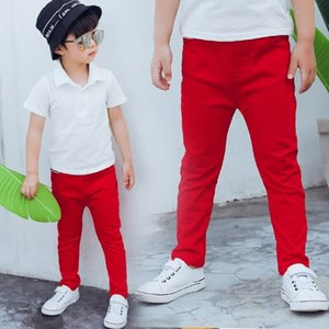 Children Boys Red Black Pants Toddler Stretch Trouser Cotton Spring Autumn 2019 Kids Legging Jeans For 2 3 4 5 6 7 8 9 10 Years Y200704