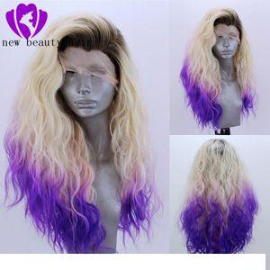 A parte de alta temperatura fibra Loiro Ombre roxo peruca Peruca Cabelo 360 frontal Long Water onda completa perucas de cabelo sintético Lace Fron