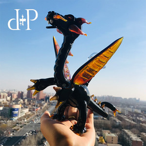 """Plus vidro bong dab rig tubo de água 018 """"Black Fly Dragon"""" único preto e marrom inebriante arte com percolator 7 """"altura 14 milímetros feminino"""