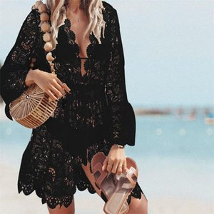 Bikini Donne Estate New Cover Up floreale della cavità del merletto Crochet Swimsuit Cover-Ups costume da bagno Beachwear tunica Beach Dress Hot