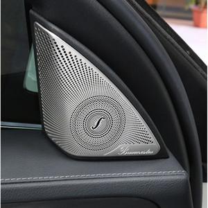 2pcs Car Door Audio Speaker Decorative Cover Trim 3D Sticker For Mercedes Benz C Class W205 C320 C180 C200 C300 C220 Car Styling
