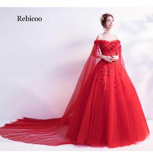Vestido de bola de marfil luz roja se viste barato encaje de tul apliques de lentejuelas Hombro novia largo de la manga