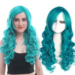 100% New High Quality Fashion Picture full lace wigs<USA Ship Sailor Moon Neptune Kaiou Michiru Green Long Wavy Cosplay Full Wig