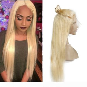 Brazilian Honey Blonde Full Lace Human Hair Wigs With Baby Hair Cheap Colored 613# Straight Blonde Lace Front Wigs For Black Women